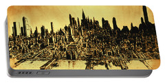 New York Skyline 78 - Mid Manhattan Ink Watercolor Painting Portable Battery Charger