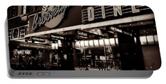 Portable Battery Charger featuring the photograph New York At Night - Brooklyn Diner - Sepia by Miriam Danar