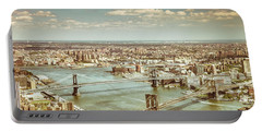 New York City - Brooklyn Bridge And Manhattan Bridge From Above Portable Battery Charger