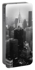 New York City - Fog And The Chrysler Building Portable Battery Charger