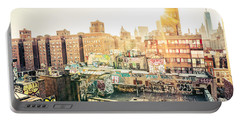 New York City - Graffiti Rooftops Of Chinatown At Sunset Portable Battery Charger