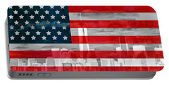 New York City Skyline And American Flag Portable Battery Charger