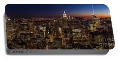 New York City Skyline At Dusk Portable Battery Charger