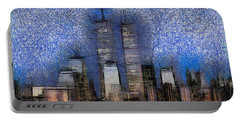 New York City Blue And White Skyline Portable Battery Charger by Georgi Dimitrov