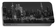 New York City Skyline In Christmas Colors Bw Portable Battery Charger