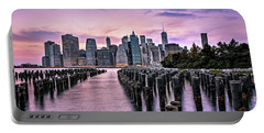 New York City Skyline Sunset Hues Portable Battery Charger