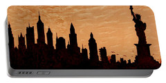 New York City Sunset Silhouette Portable Battery Charger by Georgeta  Blanaru