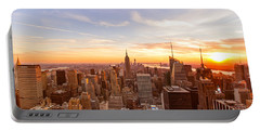 New York City - Sunset Skyline Portable Battery Charger