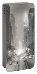 New York City - Winter Night Overlooking The Chrysler Building Portable Battery Charger
