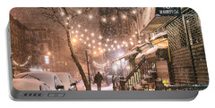 New York City - Winter Snow Scene - East Village Portable Battery Charger