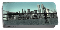 New York Downtown Manhattan Skyline - Blue Panorama Portable Battery Charger