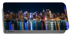 New York Panorama By Night Portable Battery Charger by Mihai Andritoiu