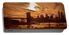 New York Skyline And Brooklyn Bridge -- Late Afternoon Portable Battery Charger by Mitchell R Grosky