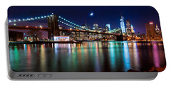 New York Skyline And Brooklyn Bridge With Crescent Moon Rising Portable Battery Charger by Mitchell R Grosky