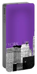New York Skyline Chrysler Building - Purple Portable Battery Charger