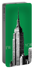 New York Skyline Empire State Building - Forest Green Portable Battery Charger