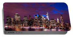 New York Skyline Magic Hour-- From Brooklyn Heights Promenade Portable Battery Charger by Mitchell R Grosky