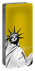 New York Skyline Statue Of Liberty - Gold Portable Battery Charger