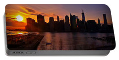 New York Skyline Sunset -- From Brooklyn Heights Promenade Portable Battery Charger by Mitchell R Grosky