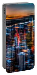 New York- The Night Awakes - Orange Portable Battery Charger