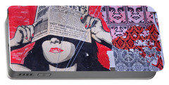 Portable Battery Charger featuring the photograph Shepard Fairey Graffiti Andre The Giant And His Posse Wall Mural by Kathy Barney