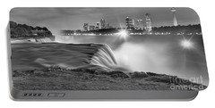 Niagara Falls Black And White Starbursts Portable Battery Charger by Adam Jewell