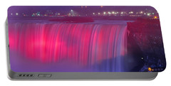 Niagara Falls Pretty In Pink Lights. Portable Battery Charger