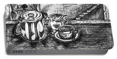 Portable Battery Charger featuring the drawing Nice Cup Of Tea by Teresa White