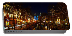 Nieuwe Spieglestraat At Night Portable Battery Charger by Jonah  Anderson