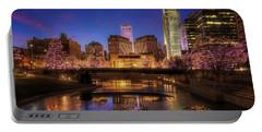 Night Cityscape - Omaha - Nebraska Portable Battery Charger by Nikolyn McDonald