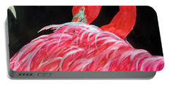 Portable Battery Charger featuring the painting Night Flamingo by Lil Taylor