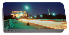 Night, Lincoln Memorial, District Of Portable Battery Charger by Panoramic Images