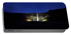 Night Shot Of Seljalandsfoss Portable Battery Charger
