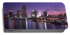 Night Skyline Miami Fl Usa Portable Battery Charger
