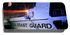 Portable Battery Charger featuring the photograph Night Watch Us Coast Guard by Aaron Berg