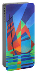 Portable Battery Charger featuring the painting Nightboat by Tracey Harrington-Simpson