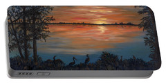 Portable Battery Charger featuring the painting Nightfall At Loxahatchee by Karen Zuk Rosenblatt