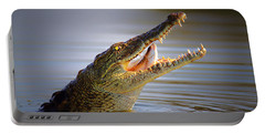 Nile Crocodile Swollowing Fish Portable Battery Charger by Johan Swanepoel