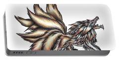 Portable Battery Charger featuring the painting Nine Tails Wolf Demon by Shawn Dall