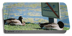 Portable Battery Charger featuring the photograph No Swimming by Kerri Mortenson