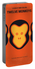 No355 My 12 Monkeys Minimal Movie Poster Portable Battery Charger by Chungkong Art