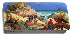 Portable Battery Charger featuring the painting Noah And The Ark by Randy Wollenmann
