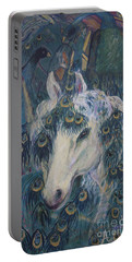 Portable Battery Charger featuring the painting Nola's Unicorn by Avonelle Kelsey