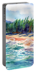 Portable Battery Charger featuring the painting North Shore Beach 2 by Marionette Taboniar
