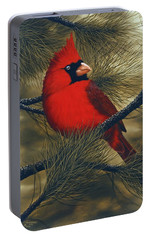 Northern Cardinal Portable Battery Charger by Rick Bainbridge