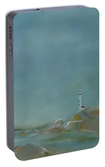 Portable Battery Charger featuring the painting Nova Scotia Fog by Judith Rhue