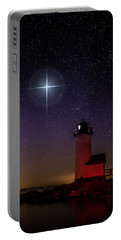 Portable Battery Charger featuring the photograph Star Over Annisquam Lighthouse by Jeff Folger