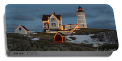 Nubble Lighthouse At Christmas Portable Battery Charger