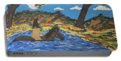 Portable Battery Charger featuring the painting Nude And Bareback Swim by Jeffrey Koss