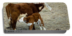 Portable Battery Charger featuring the photograph Nursing Calf by Michael Chatt